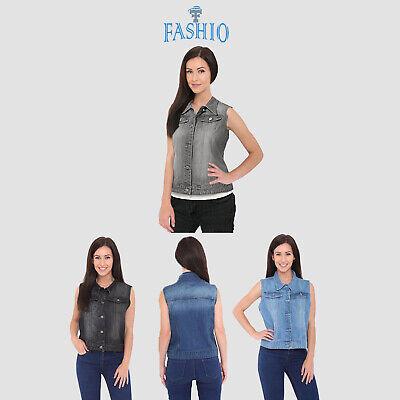 Women's Denim Chest Flap Pockets Vest Ladies Casual Jean Sleeveless Jacket Coat