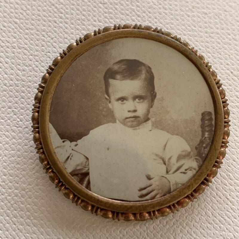 Antique Victorian Photograph Mourning Jewelry Brooch Pin Handsome Little Boy