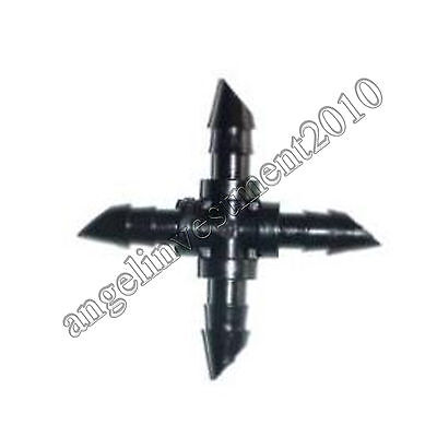 """10pcs Agricultural Garden Irrigation 1/4"""" Barb Drip CROSS Connector Fittings"""
