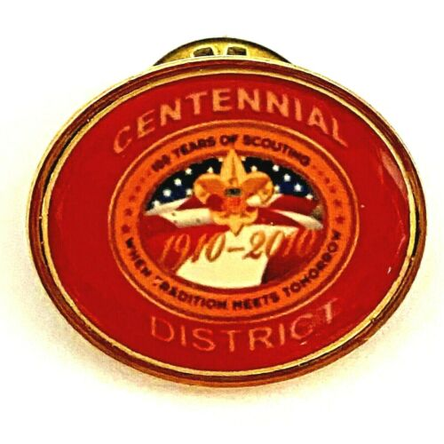1910-2010 BSA Centennial District Lapel Pin, 100 Years Scouting, Boy Scouts, Red