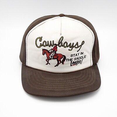 Cowboys Stay in the Saddle Trucker hat - Full Foam - vintage Korea Snapback - Foam Cowboy Hats