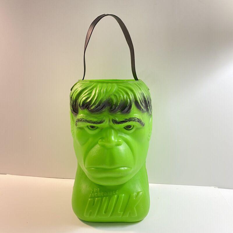 Vintage Incredible Hulk Blow Mold Halloween Candy Bucket Pail Renzi 1979 Rare
