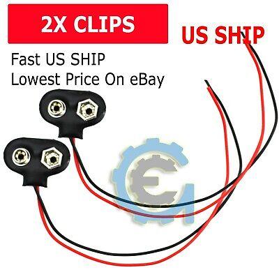 2 Pcs Snap 9v 9 Volt Battery Clip Connector T Type Black W Cable Lw
