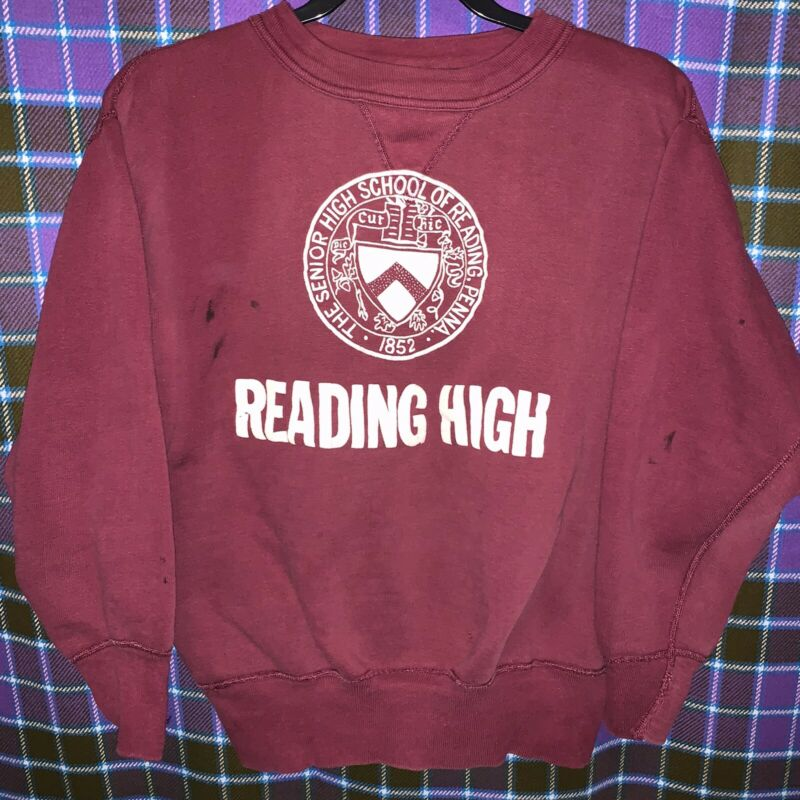 VTG 1950s V Stitched Crewneck Sweatshirt Reading Senior High School PA Small Red