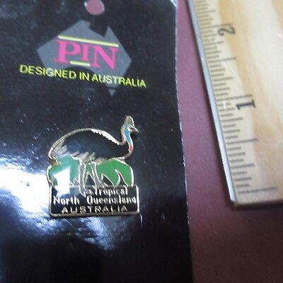 Tropical North Queensland Australia Emu Bird Hat Pin Collectible Tie Tac Pinback
