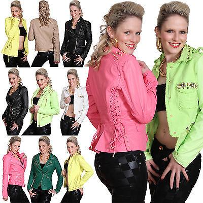 Sexy Damen Lederjacke Strass Jacke Kunstleder Biker Jacket Übergang Nieten Neu (Sexy Damen Leder Jacken)