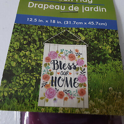Bless our Home Garden Flag Decoration Flowers with Hanger Ya