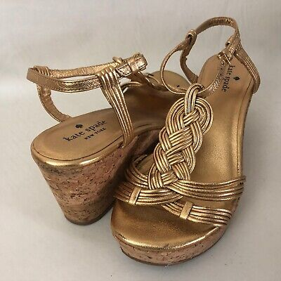 Kate Spade New York Becca Braid Women's 7M Gold Leather T-Strap Wedge Sandals