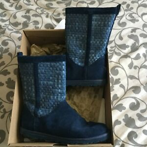 UGG blue suede/denim lightweight boot 37(6) woman