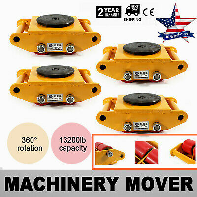 4x 6t 4 Rollers Machine Dolly Skate Machinery Mover Cap 360rotation Industrial