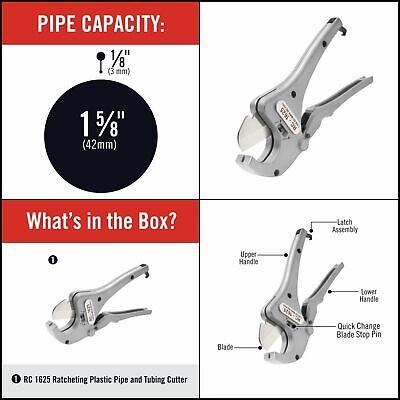 Tubing Cutter Ratchet Action Plastic Pipe Durable Aluminum 18 - 1-58 Rc-1625