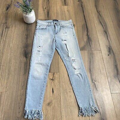 Zara Basic Distressed Skinny Jeans Size 6 US Skinny Stretch Jean Light Wash