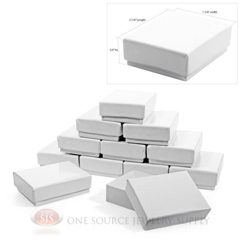 """12 Gloss White Cotton Filled Gift Box  2 1/8"""" X 1 5/8"""" Jewelry Charm Pendant Box"""