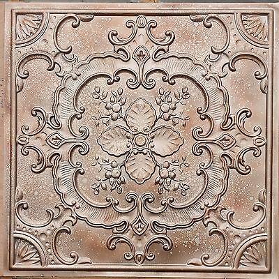 PL19 Faux tin 3D fleck copper metalize ceiling tiles decor wall panel 10tile/lot