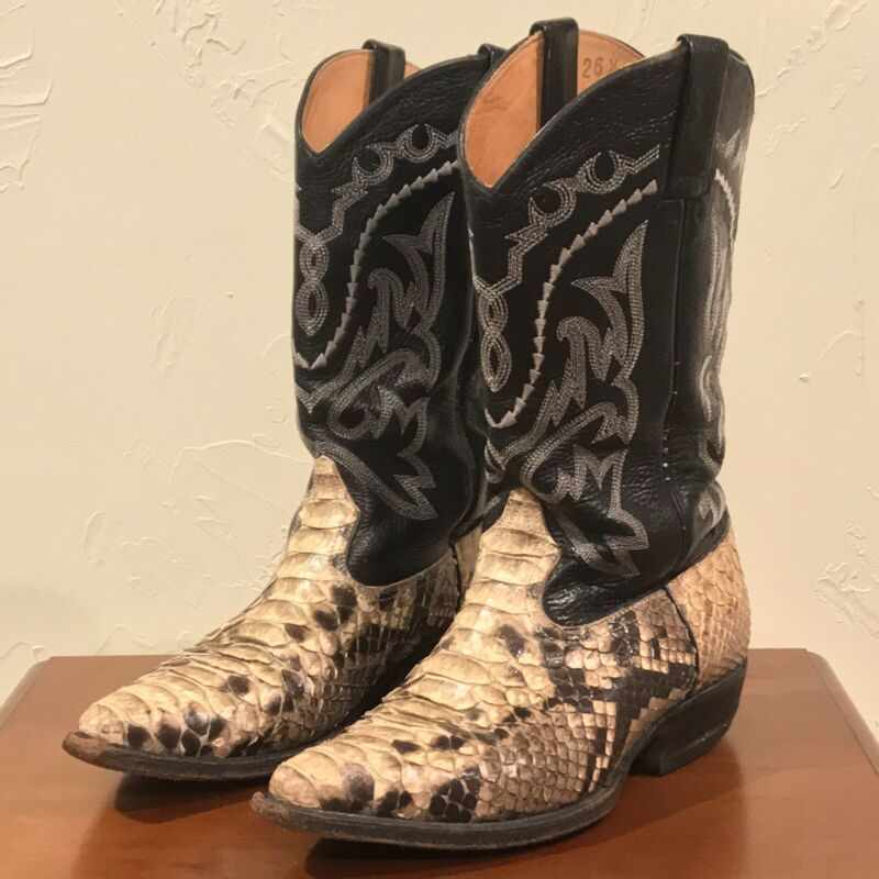 RARE, Mens, African, Black, Leather, w/, Snakeskin, Cowboy, Pointed, Toe, Boots, Size, 7.5