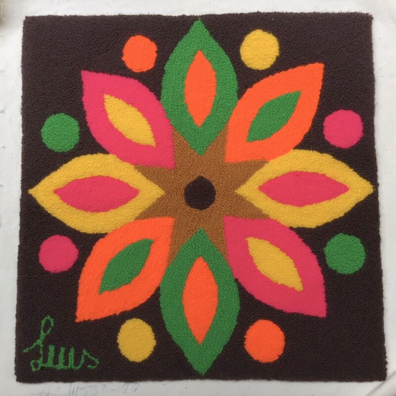 Vintage Luis Montiel Tapestry Mid Century Flower Power