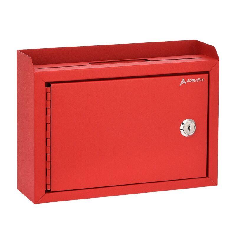 "AdirOffice Red Steel Suggestion Key Drop Box with Locking Top 9.75"" x 7"" x 3"""