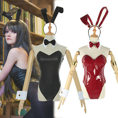 Women Leather One Piece Swimsuit Front Bottom Zipper Bunny Girl Suit Headwear