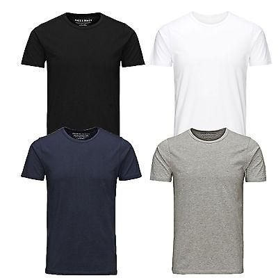 Jack & Jones Mens Crew Neck Short Sleeve T Shirt Slim Fit Cotton Stretch Plain