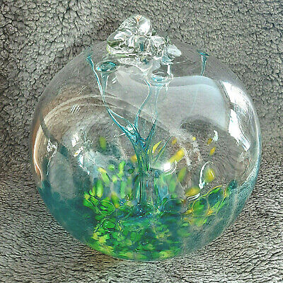 "Hanging Glass Ball 8"" Diameter ""Aqua & Yellow Tree"" Witch Ball (1) #27"