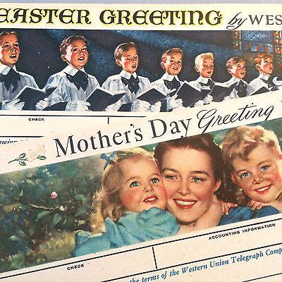 2 Original Nos Vintage Western Union Telegram Greetings Mothers Day   Easter