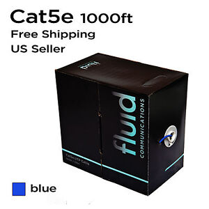 cat5 cat5e solid 1000 ft blue bulk utp lan network ethernet cable pull box 1000'