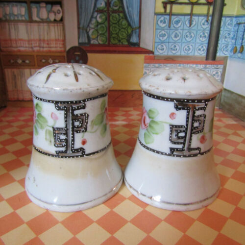 Antique Victorian Edwardian Salt Shakers Moriage Porcelain Floral Painted Japan