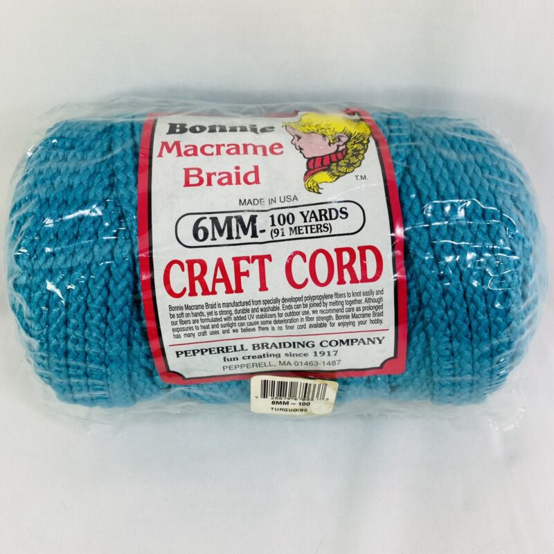 Bonnie Craft Cord Macrame Braided 6mm X 100 Yds Turquoise Pepperell Made in USA