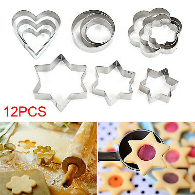12 Metal Biscuit Star Cookie Cutters Set Cake Mould Sugarpaste Decorating Pastry