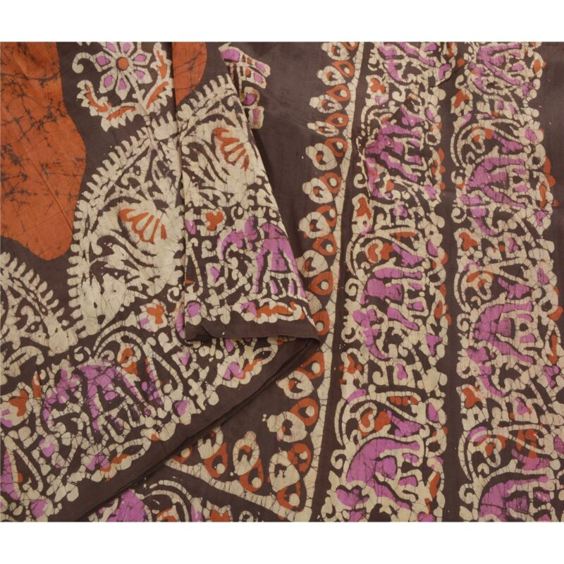 Sanskriti Vintage Brown Saree 100% Pure Silk Batik Work Craft Fabric 5 Yd Sari
