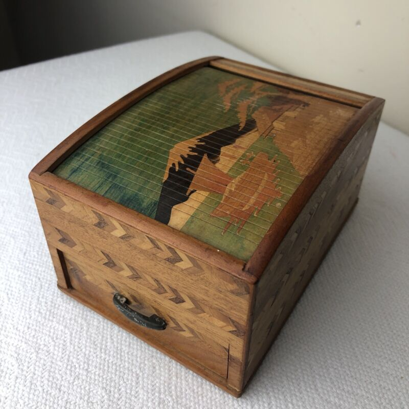 Vintage MCM Inlaid Parquet Wood Ship Volcano Cigarette Dispenser Box