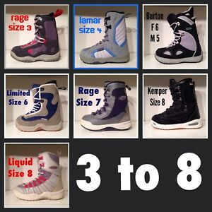 Snowboard Boots Size 3 to 8