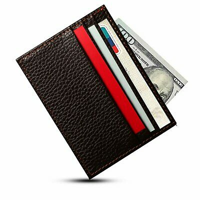Mens Slim Leather Wallet Card Holder Front Pocket Wallets Credit ID Pocket Thin Clothing, Shoes & Accessories