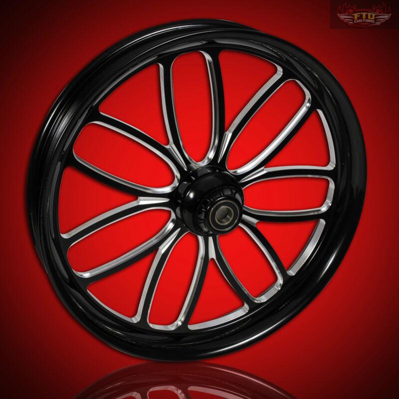 "Harley Davidson Black Contrast 30"" Inch Front Wheel ""viper"" Custom Harley Wheels"