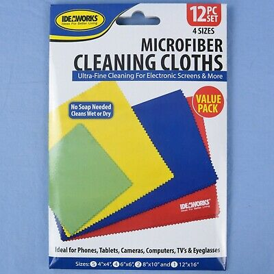 - Ideaworks Microfiber Cleaning Cloths - 12 Piece Set Value Pack - 4 Sizes