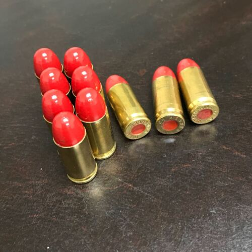 9MM LUGER SNAP CAPS SMOOTH RED BULLETS DUMMY TRAINING ROUNDS SET OF 10