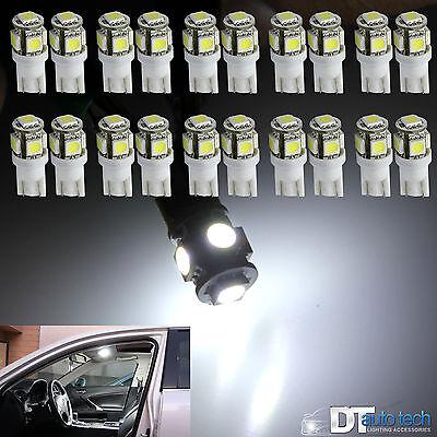 20X 6000K Xenon White T10 921 Interior License Plate Smd Light Bulbs 5 Led
