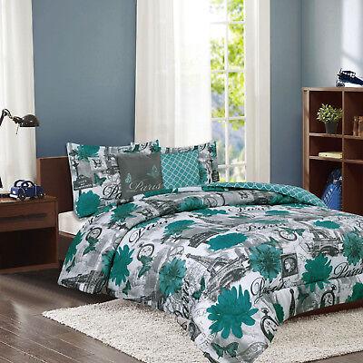 Paris Bedding Twin or Full/Queen Comforter Bed Set Eiffel Tower Teal Blue Flower ()