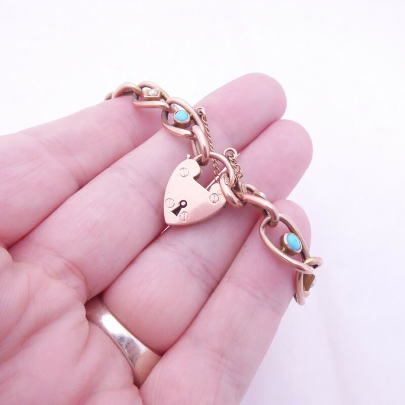 9ct rose gold turquoise seed pearl padlock clasp bracelet  heavy Victorian