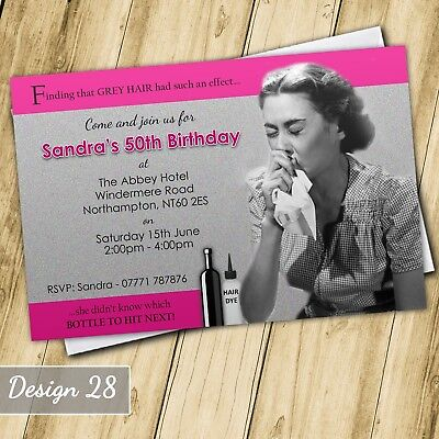 Funny Grey 30th 40th 50th 60th Invitations Personalised Birthday Party Invites - Funny 60th Birthday Invitations