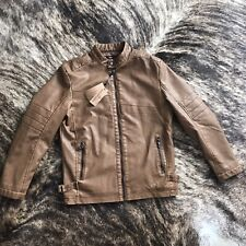 Dixon Leather Men's Faux Leather Biker Jacket Brown Size ...
