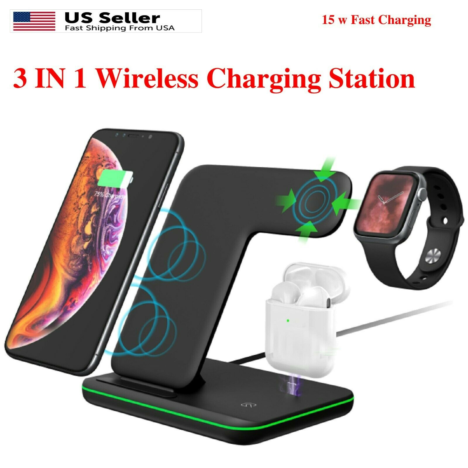 3 In1 LED Qi Wireless Fast Charger Charging Station Stand Fo
