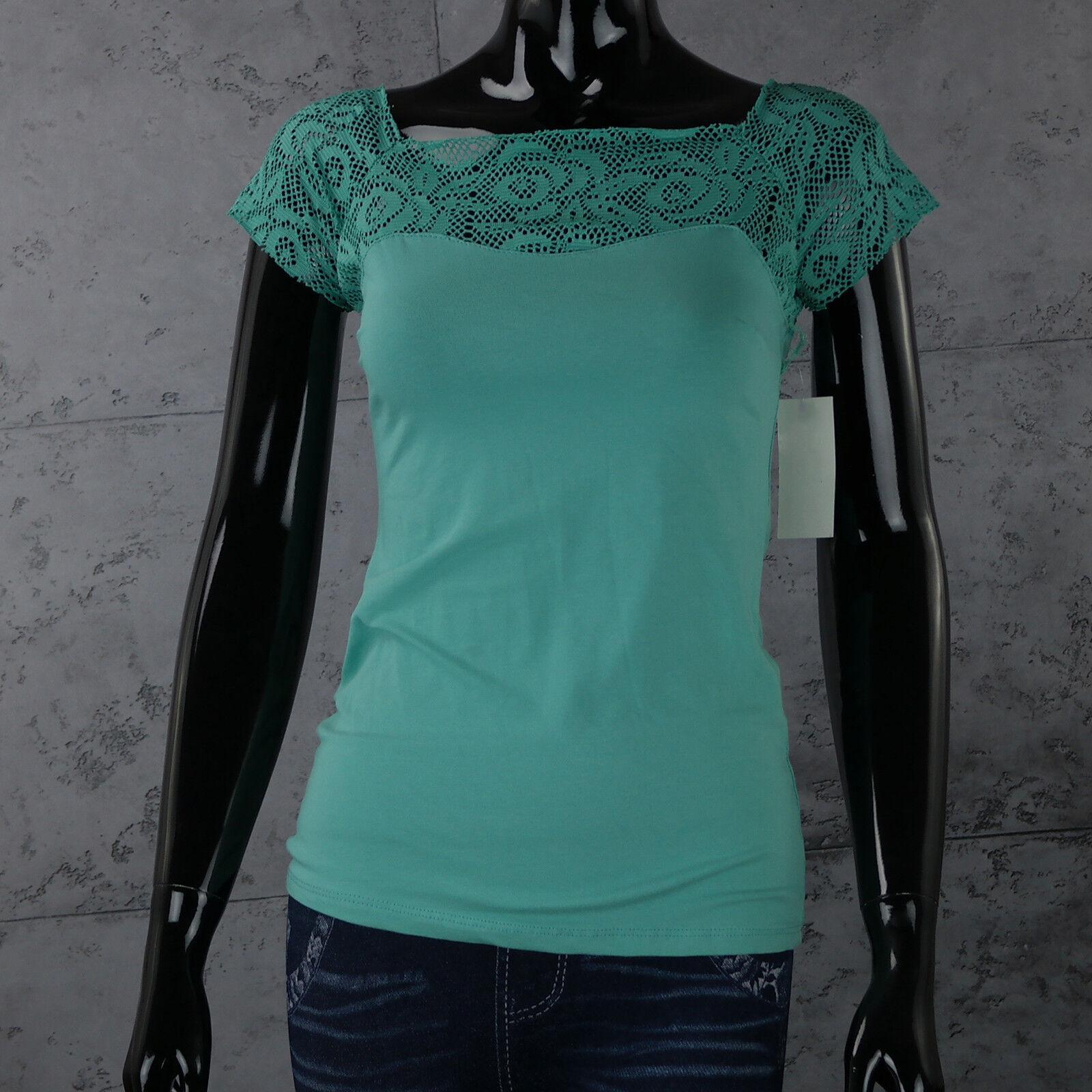 Maglietta Donna Verde Acq Camicia TOP con Pizzo ricami T Shirt Taglia Unica Sexy