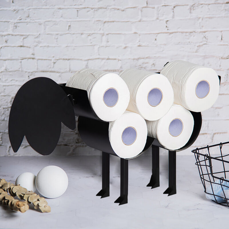 Metal Tissue Roll Holder Toilet Free-stand/Wall Mounted up to 7 Tissue Rolls
