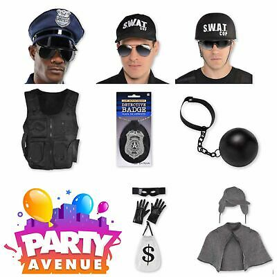 Adult Cops & Robbers Accessories SWAT Fancy Dress Police Lot - Cop Accessories