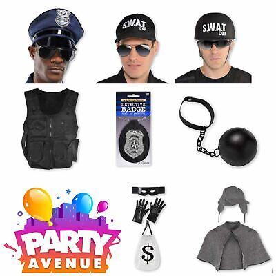 Adult Cops & Robbers Accessories SWAT Fancy Dress Police Lot