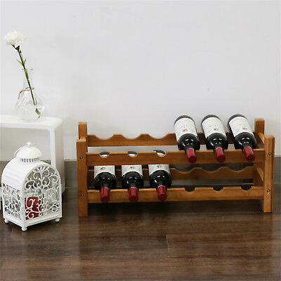 2 Tiers Bamboo Wine Rack 12 Bottle Wine Holder Stand Storage Display Shelves  2 Bottle Wine Holder