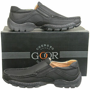 New-Mens-Black-Leather-Lined-Slip-On-Casual-Shoes-UK-Size-6-7-8-9-10-11-12