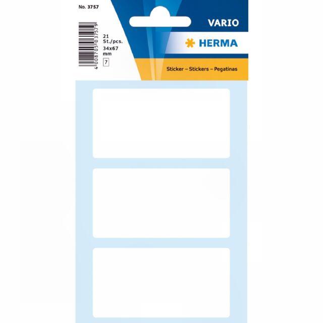 21 Vielzweck-Etiketten 34 x 67 mm, weiß, HERMA VARIO 3757