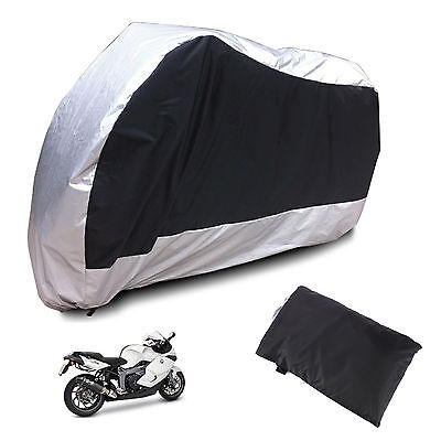 XL Large Motorcycle Waterproof Outdoor Motorbike Rain Vented Bike Cover Black T